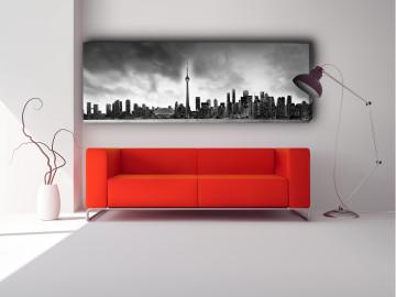 """Toronto 72"""" X 24"""" Black & White"""