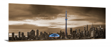 "Toronto 72"" X 24""  In Sepia/Blue Tower"