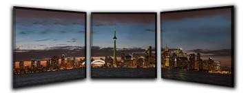 """3 24"""" X 24"""" (72"""" X 24"""") Gallery Wrapped T-35 Toronto Skyline Triptych"""